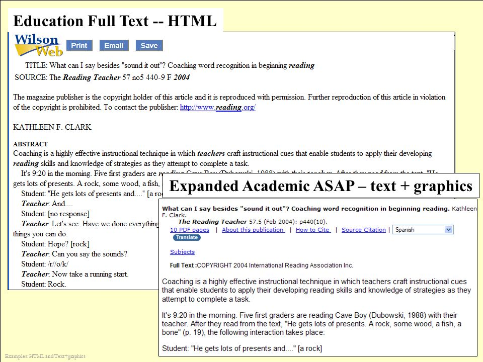 Education Full Text -- HTML Expanded Academic ASAP – text + graphics Examples: HTML and Text+graphics