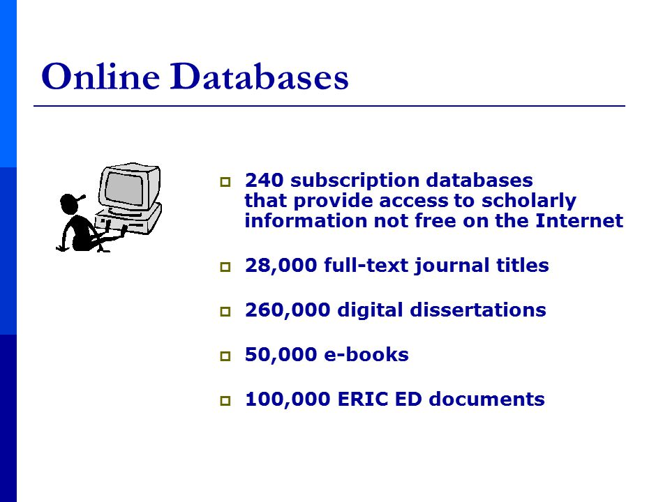  240 subscription databases that provide access to scholarly information not free on the Internet  28,000 full-text journal titles  260,000 digital dissertations  50,000 e-books  100,000 ERIC ED documents Online Databases