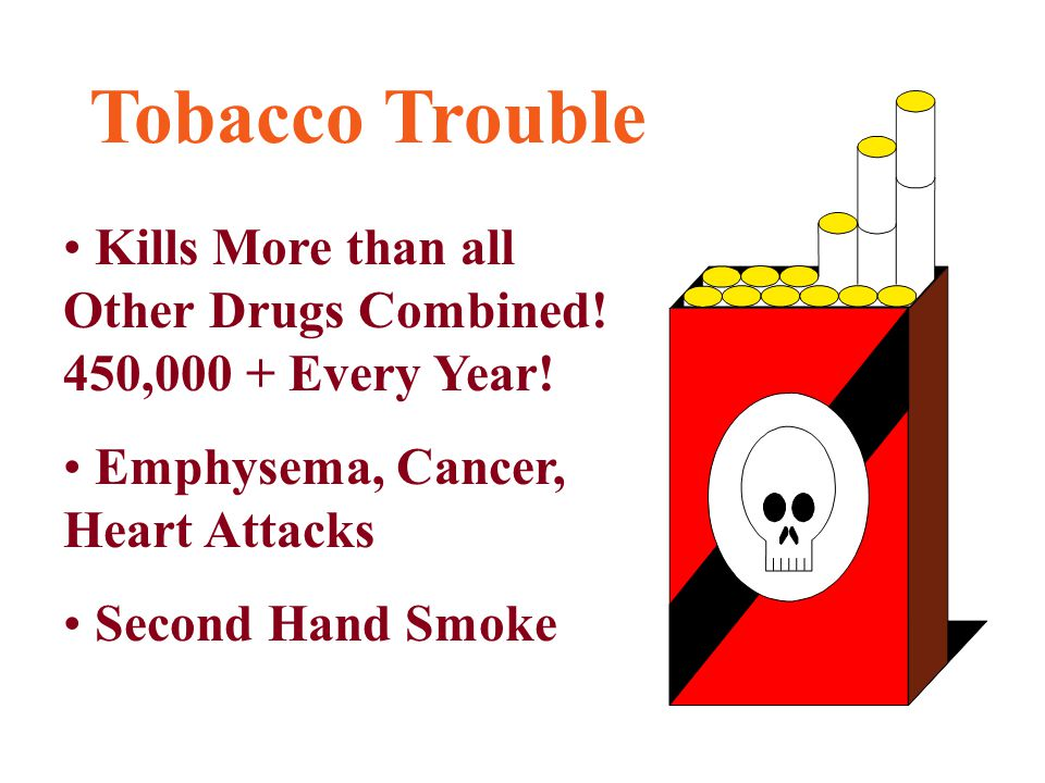 Tobacco Trouble Kills More than all Other Drugs Combined! 450,000 + Every Year! Emphysema, Cancer, Heart Attacks Second Hand Smoke