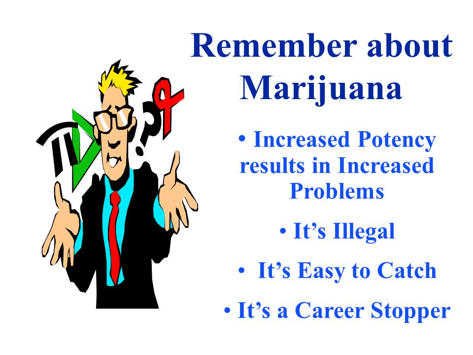 Remember about Marijuana Increased Potency results in Increased Problems It's Illegal It's Easy to Catch It's a Career Stopper