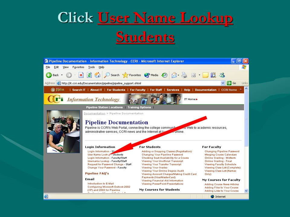 Click User Name Lookup Students