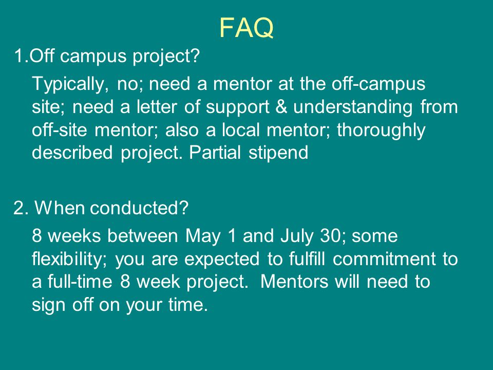 FAQ 1.Off campus project.