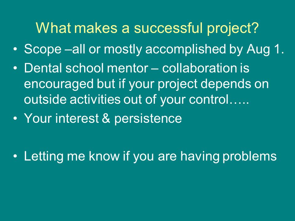 What makes a successful project. Scope –all or mostly accomplished by Aug 1.