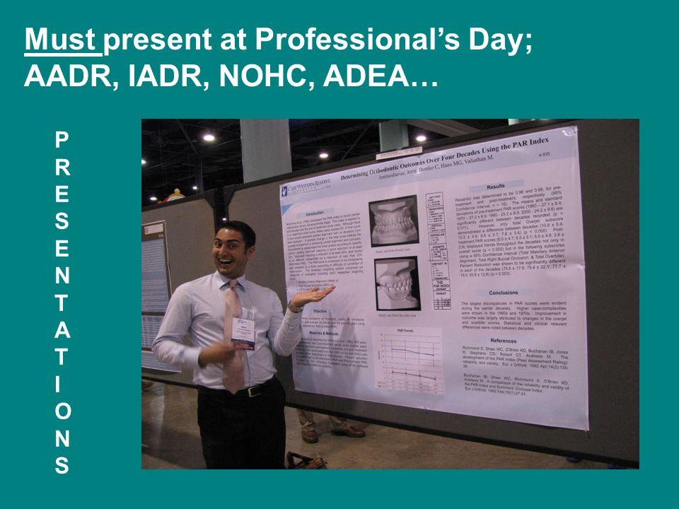 Must present at Professional's Day; AADR, IADR, NOHC, ADEA… PRESENTATIONSPRESENTATIONS