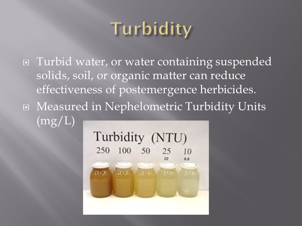  Turbid water, or water containing suspended solids, soil, or organic matter can reduce effectiveness of postemergence herbicides.  Measured in Neph