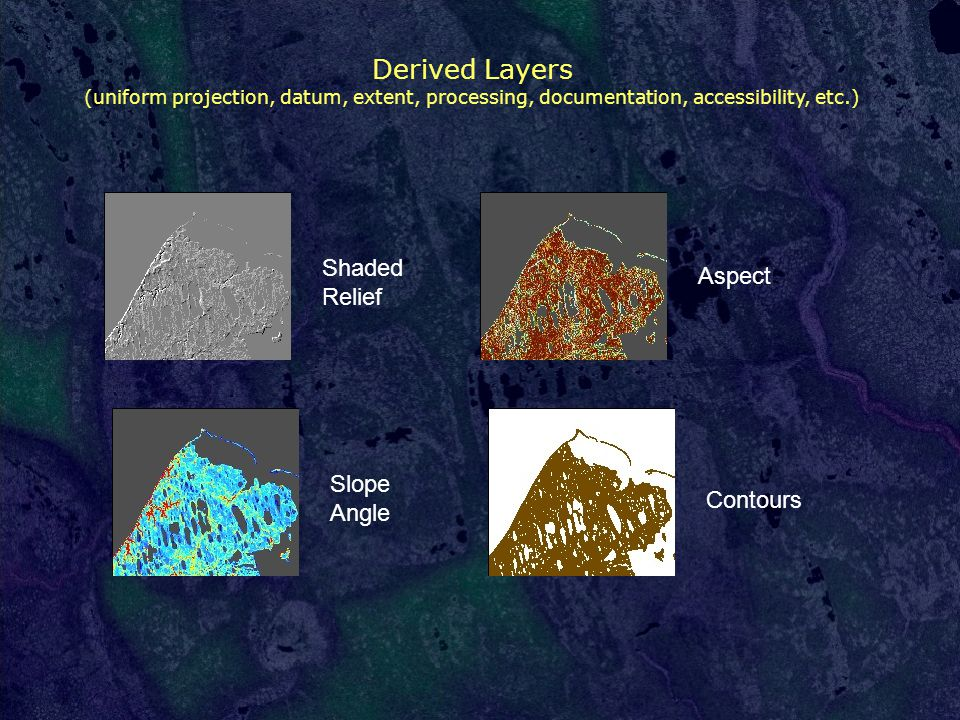Derived Layers (uniform projection, datum, extent, processing, documentation, accessibility, etc.) Aspect Shaded Relief Slope Angle Contours