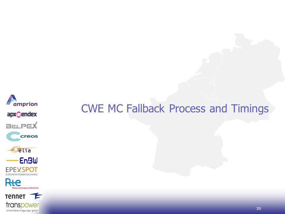 30 CWE MC Fallback Process and Timings