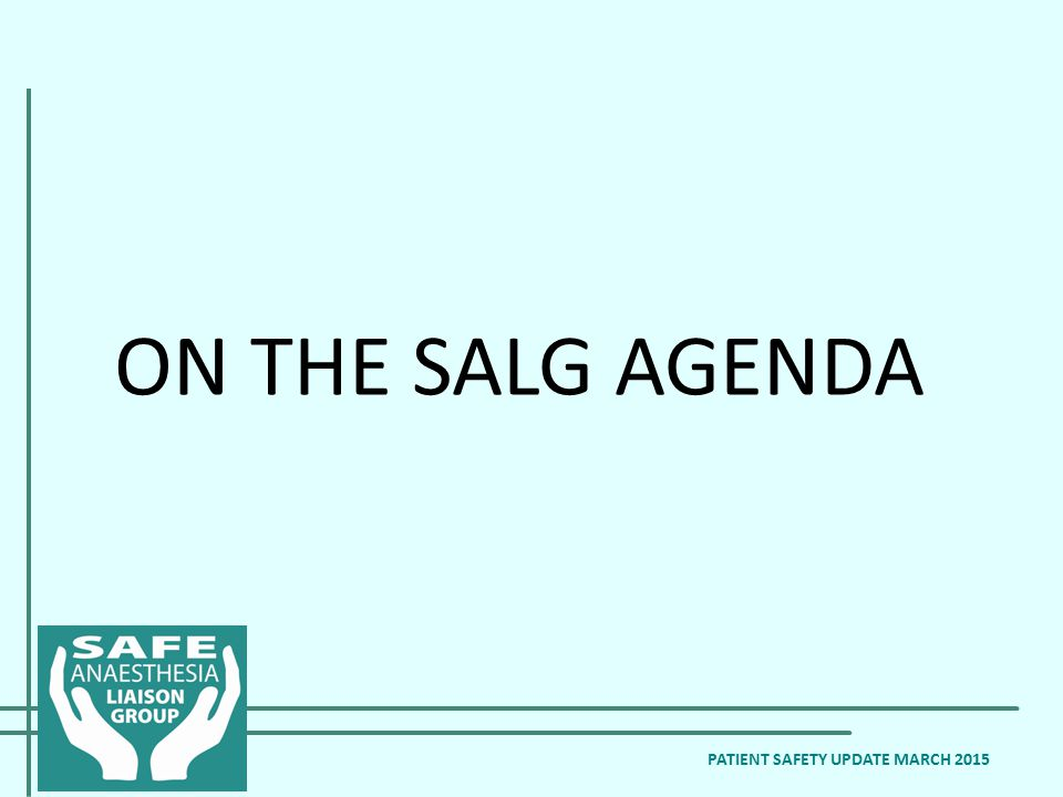 ON THE SALG AGENDA PATIENT SAFETY UPDATE MARCH 2015