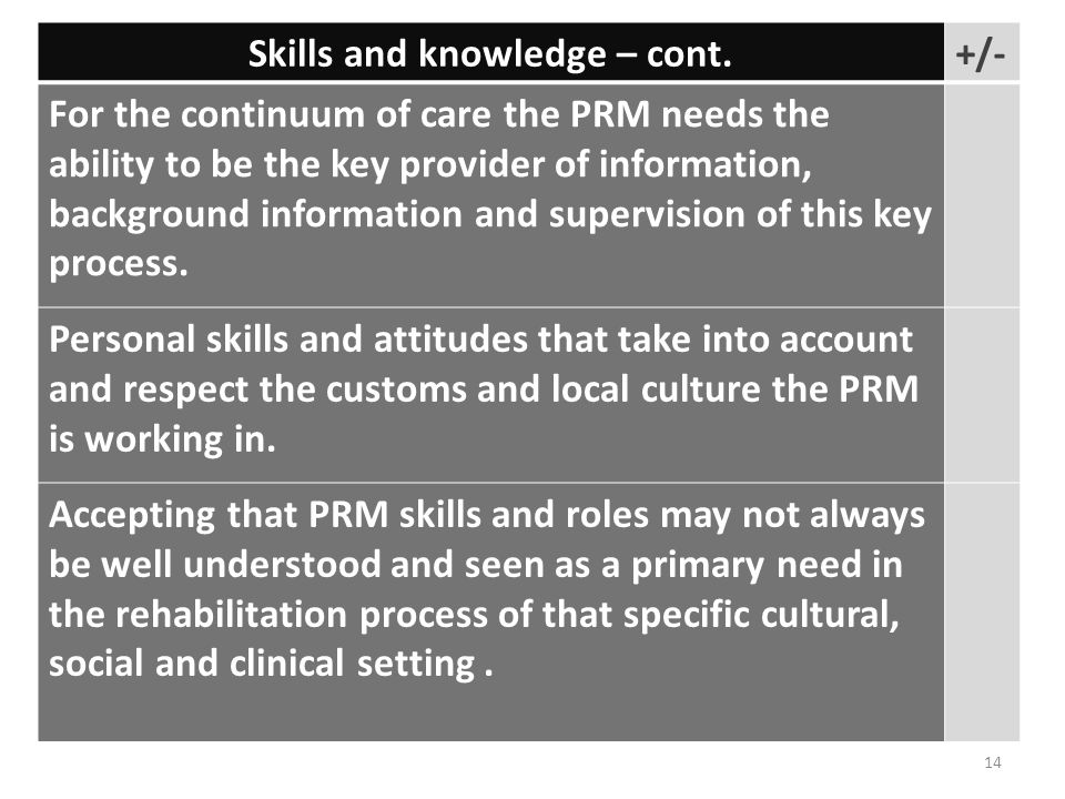 Skills and knowledge – cont.+/- For the continuum of care the PRM needs the ability to be the key provider of information, background information and supervision of this key process.