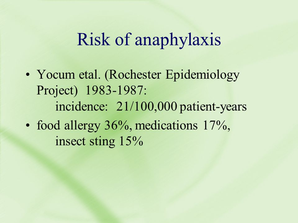 Risk of anaphylaxis Yocum etal.