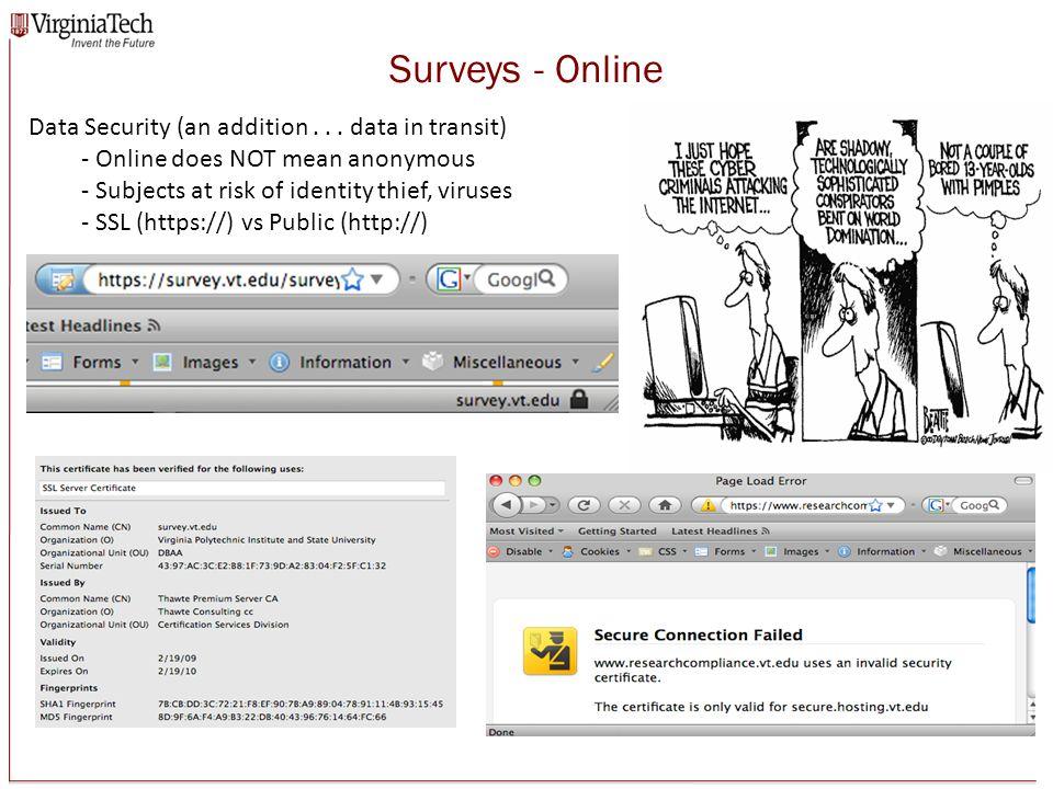 Surveys - Online Data Security (an addition...