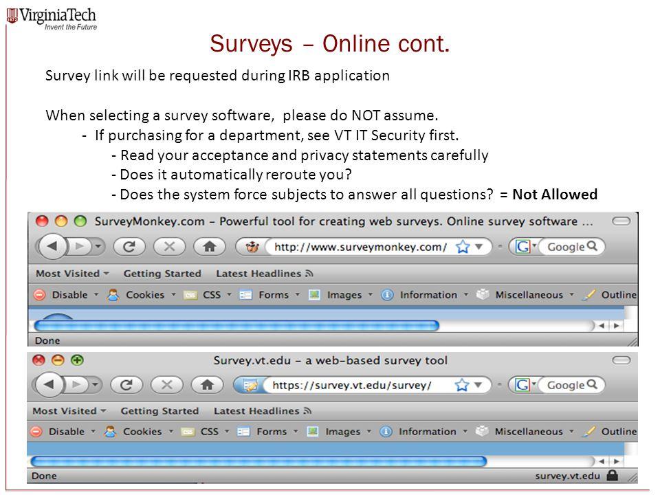 Surveys – Online cont.