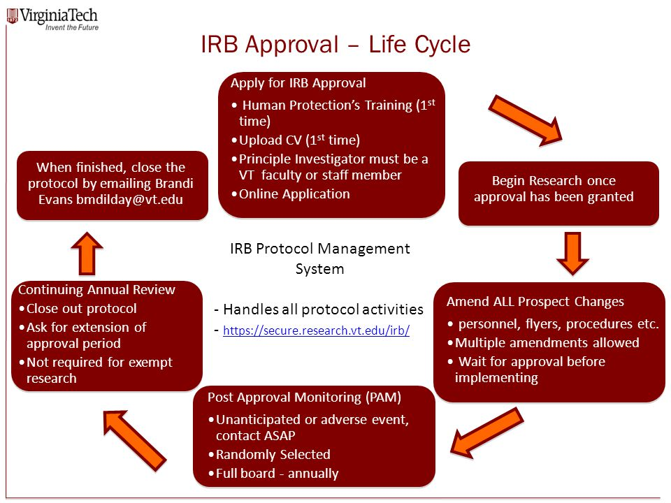 IRB Approval – Life Cycle Screenshot of a new IRB application