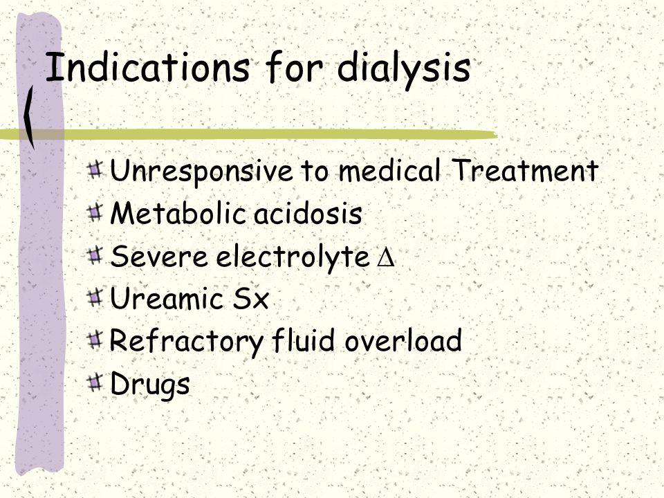 Management Fluid balance IDC Stop Nephrotoxic drugs Diuretics Renal vasodilators Dopamine 1-5  g/kg/min Dialysis – Hemodialysis Call the renal team
