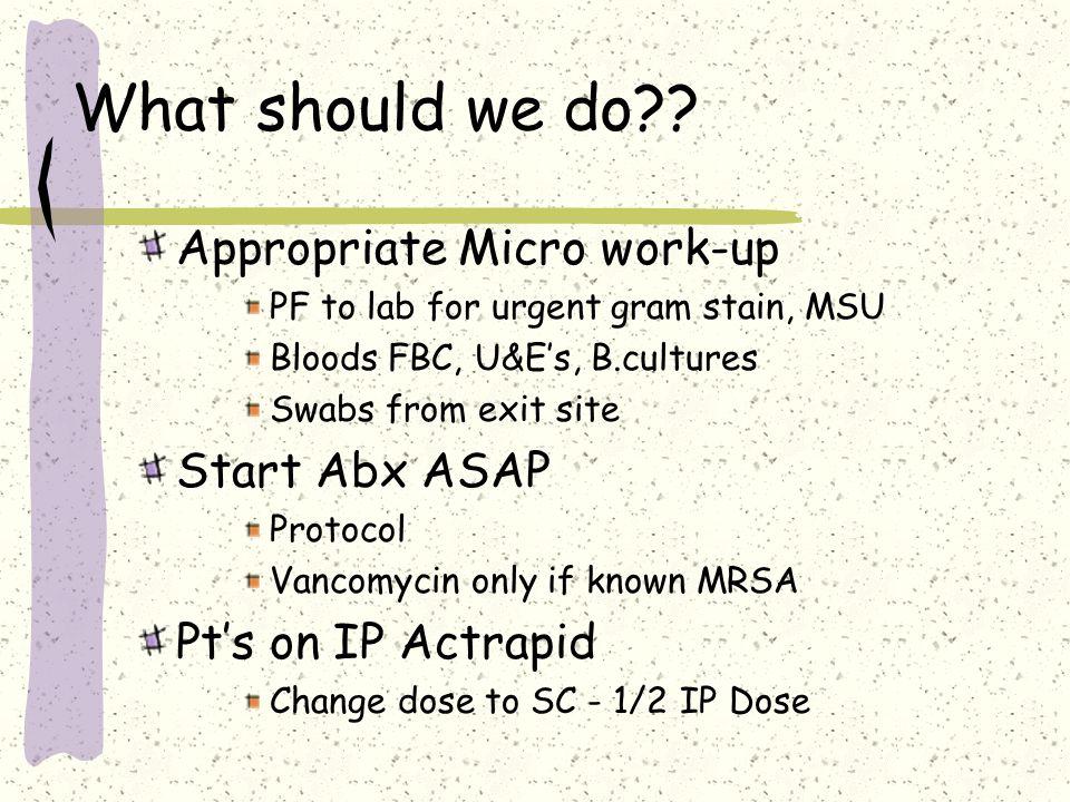 Bugs Gram positives S. Epidermides30-40% S. Aureus15-20% Streptococci10-15% Other2-5% Gram Negatives Pseudomonas5-10% Enterobacter5-20% Other2-5% Fung