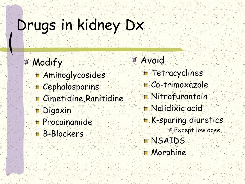 Drugs causing  K+ K+ supplements ACEI Angiotensin II inhibitors Losarten, Candesarten NSAIDS K sparing diuretics Amiloride, Spironolactone