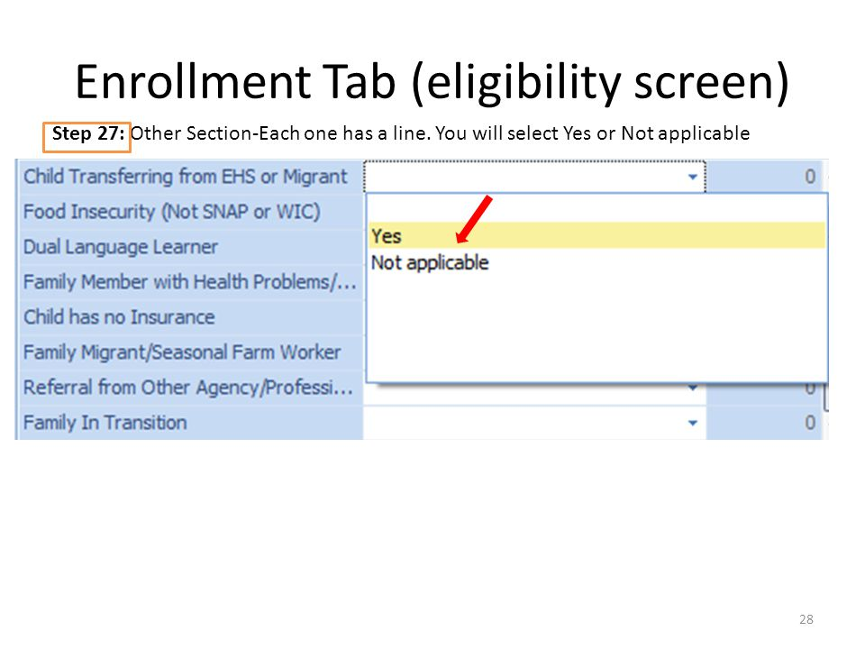 Enrollment Tab (eligibility screen) 28 Step 27: Other Section-Each one has a line.