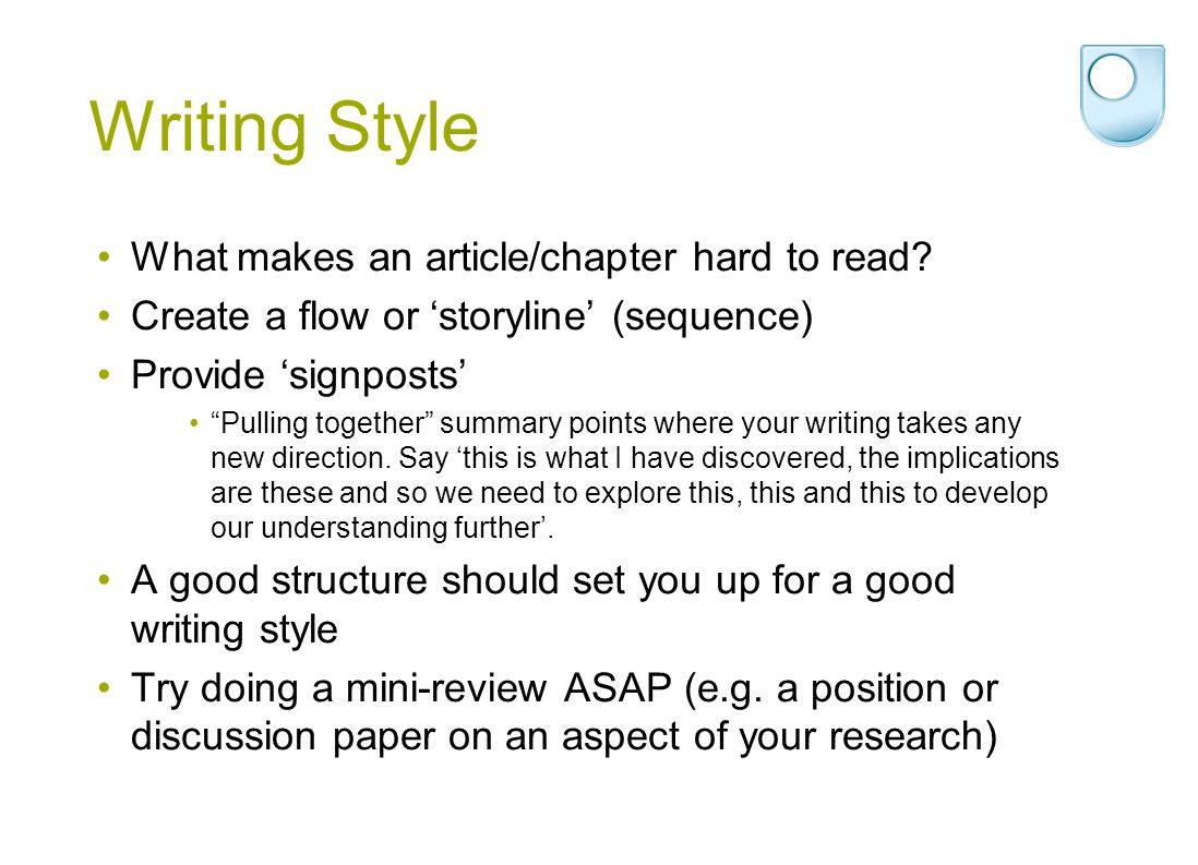 Writing Style What makes an article/chapter hard to read.
