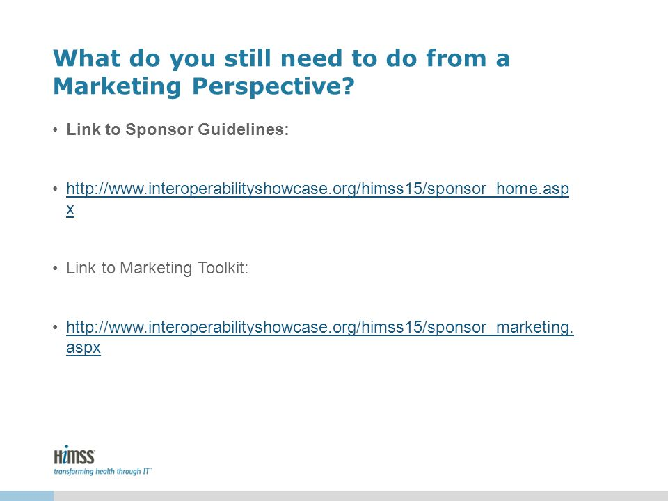 What do you still need to do from a Marketing Perspective.