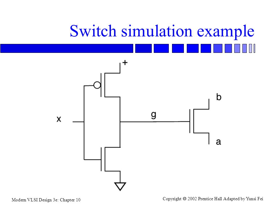 Modern VLSI Design 3e: Chapter 10 Copyright  2002 Prentice Hall Adapted by Yunsi Fei Switch simulation example