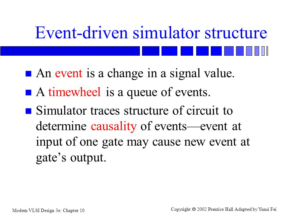 Modern VLSI Design 3e: Chapter 10 Copyright  2002 Prentice Hall Adapted by Yunsi Fei Event-driven simulator structure n An event is a change in a signal value.