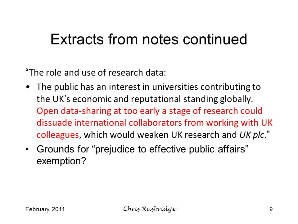February 2011Chris Rusbridge10 How many requests for research data.