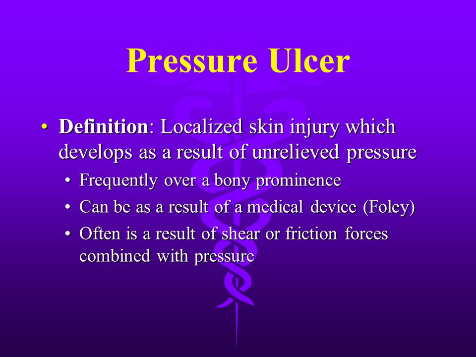 Stage 2 Pressure Ulcer Partial thickness disruption of the dermis with shallow red/pink wound bed without slough; no undermining or tunneling.