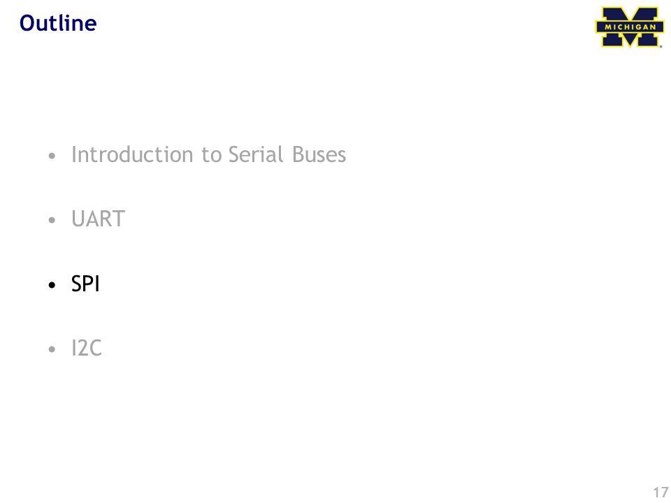 17 Outline Introduction to Serial Buses UART SPI I2C