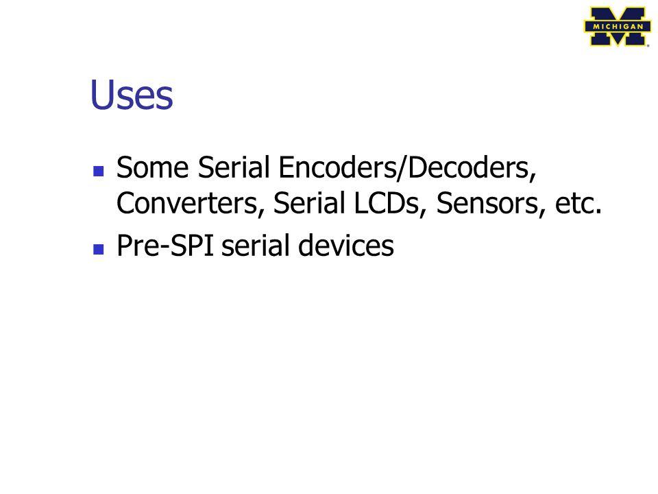 Uses Some Serial Encoders/Decoders, Converters, Serial LCDs, Sensors, etc. Pre-SPI serial devices
