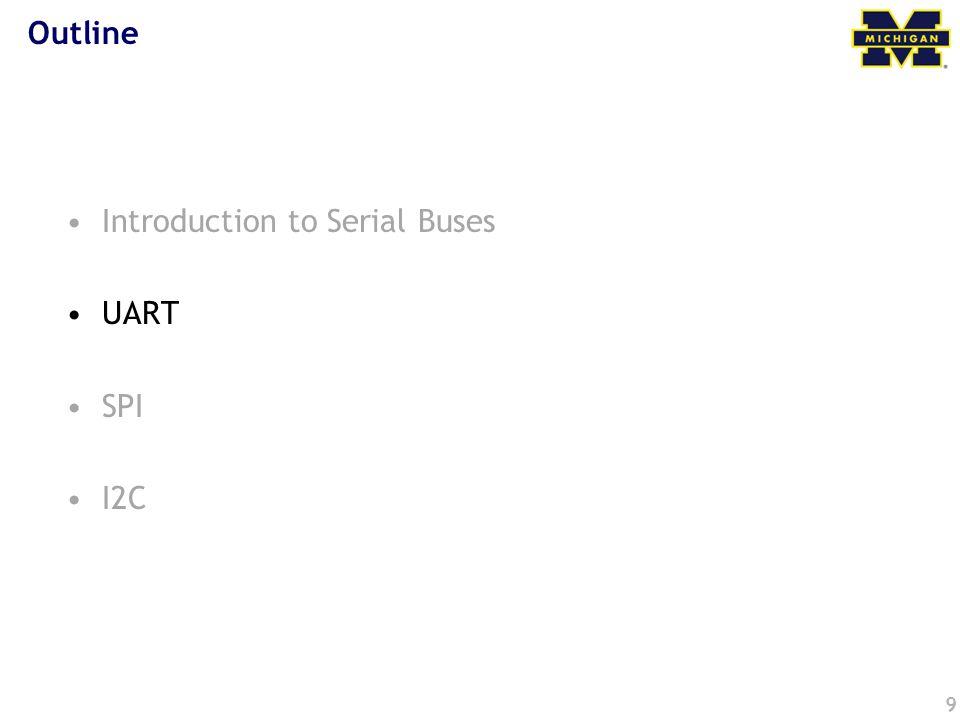9 Outline Introduction to Serial Buses UART SPI I2C