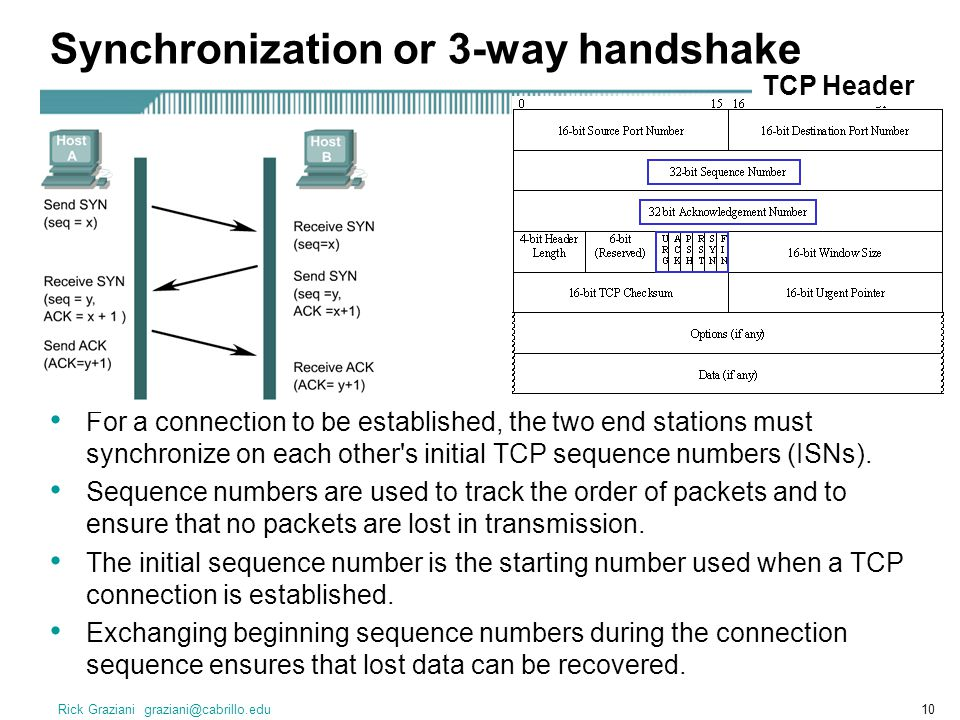 Rick Graziani graziani@cabrillo.edu10 Synchronization or 3-way handshake For a connection to be established, the two end stations must synchronize on