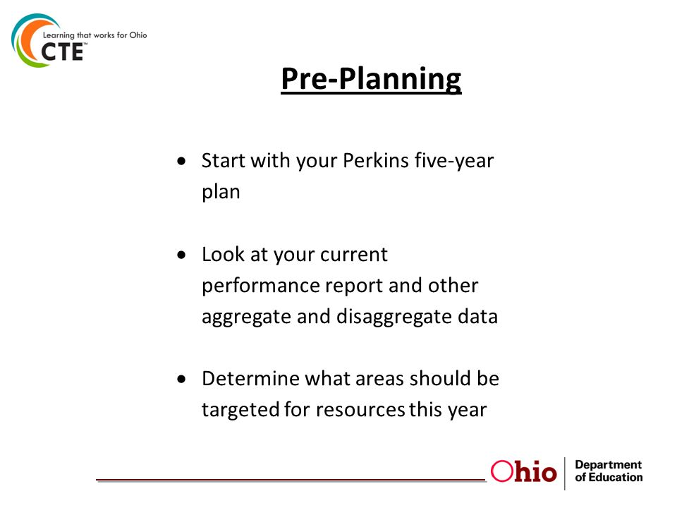 Pre-Planning  Start with your Perkins five-year plan  Look at your current performance report and other aggregate and disaggregate data  Determine what areas should be targeted for resources this year