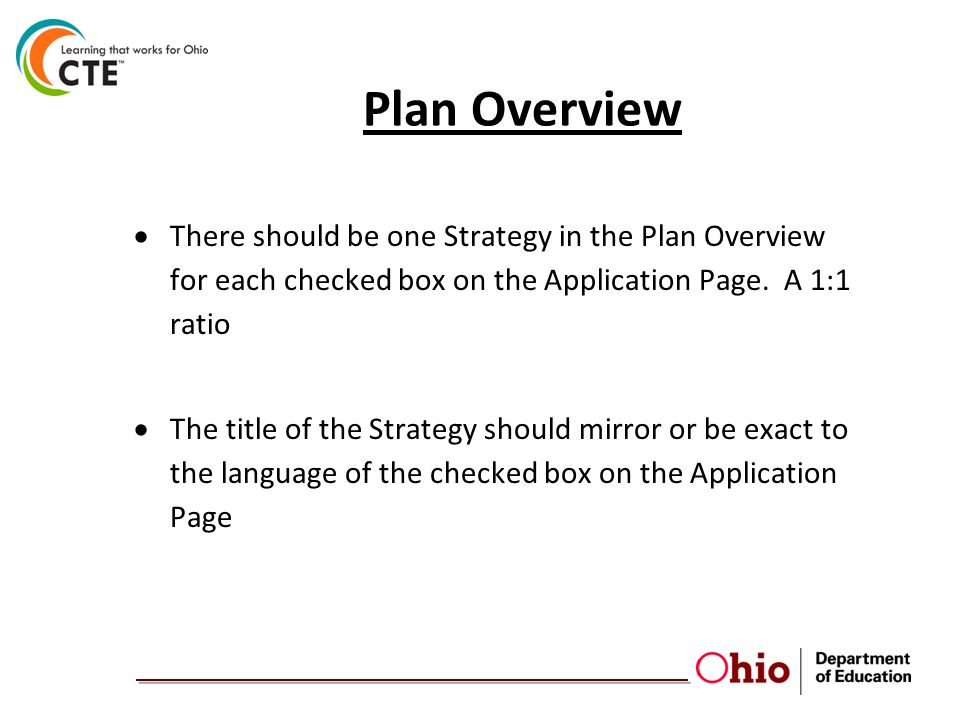 Plan Overview  There should be one Strategy in the Plan Overview for each checked box on the Application Page.