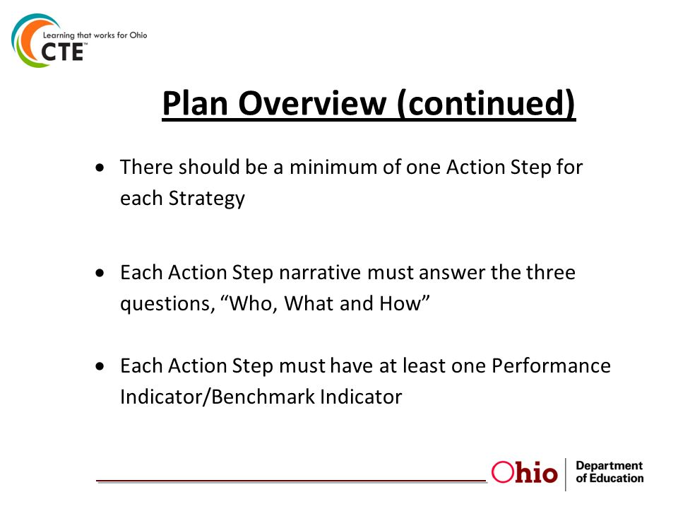 Plan Overview (continued)  There should be a minimum of one Action Step for each Strategy  Each Action Step narrative must answer the three questions, Who, What and How  Each Action Step must have at least one Performance Indicator/Benchmark Indicator