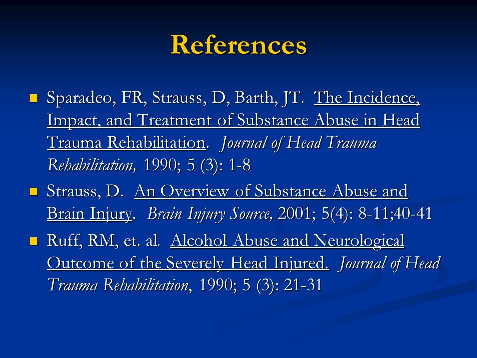 References Sparadeo, FR, Strauss, D, Barth, JT.