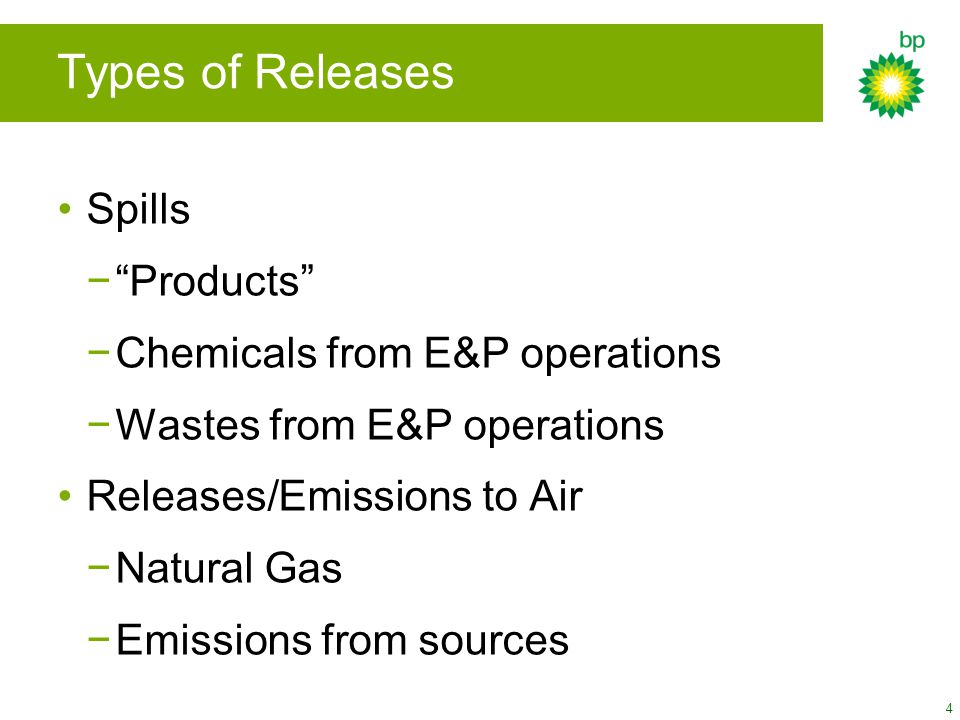 "4 Spills −""Products"" −Chemicals from E&P operations −Wastes from E&P operations Releases/Emissions to Air −Natural Gas −Emissions from sources Types o"