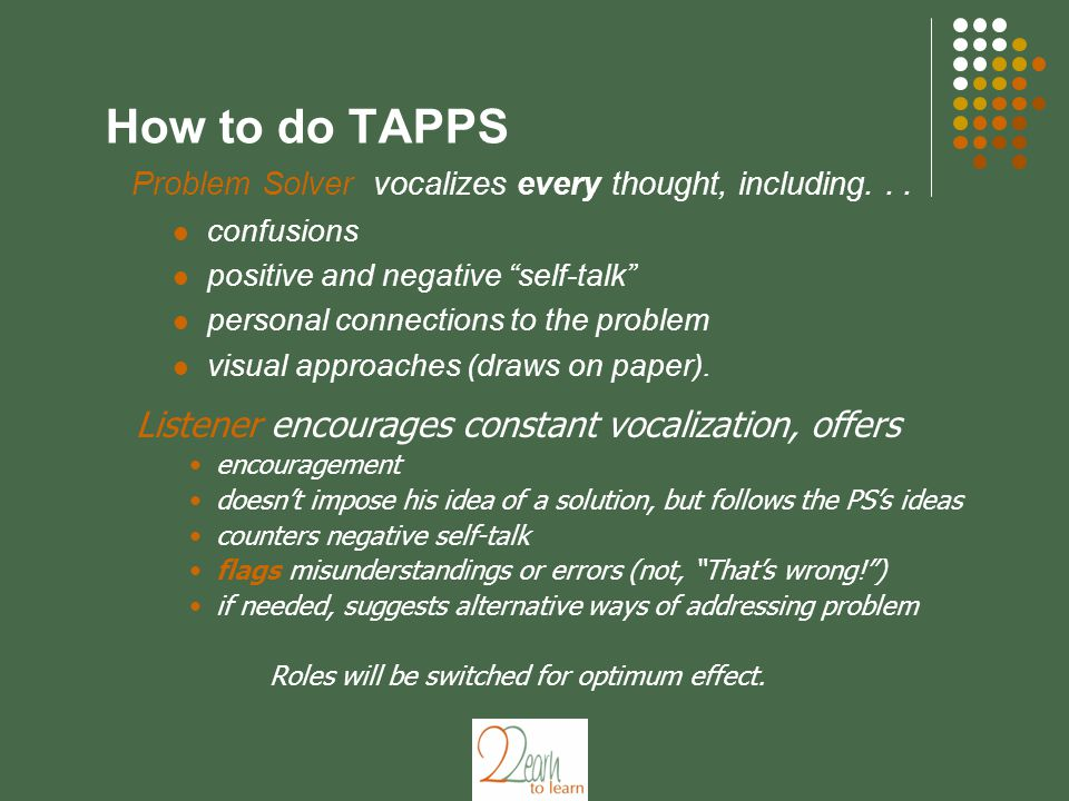 How to do TAPPS Problem Solver vocalizes every thought, including...