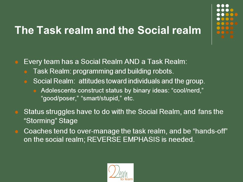 The Task realm and the Social realm Every team has a Social Realm AND a Task Realm: Task Realm: programming and building robots. Social Realm: attitud