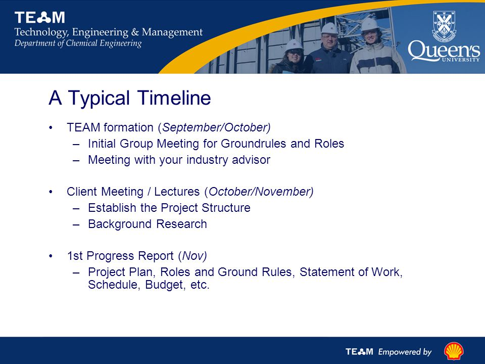A Typical Timeline TEAM formation (September/October) –Initial Group Meeting for Groundrules and Roles –Meeting with your industry advisor Client Meeting / Lectures (October/November) –Establish the Project Structure –Background Research 1st Progress Report (Nov) –Project Plan, Roles and Ground Rules, Statement of Work, Schedule, Budget, etc.