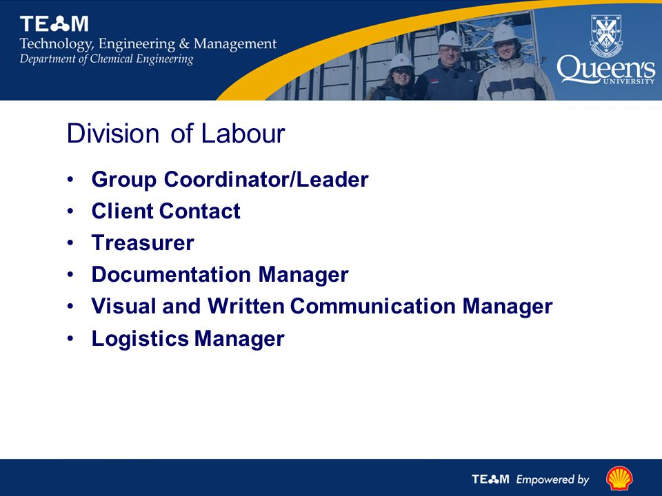Division of Labour Group Coordinator/Leader Client Contact Treasurer Documentation Manager Visual and Written Communication Manager Logistics Manager