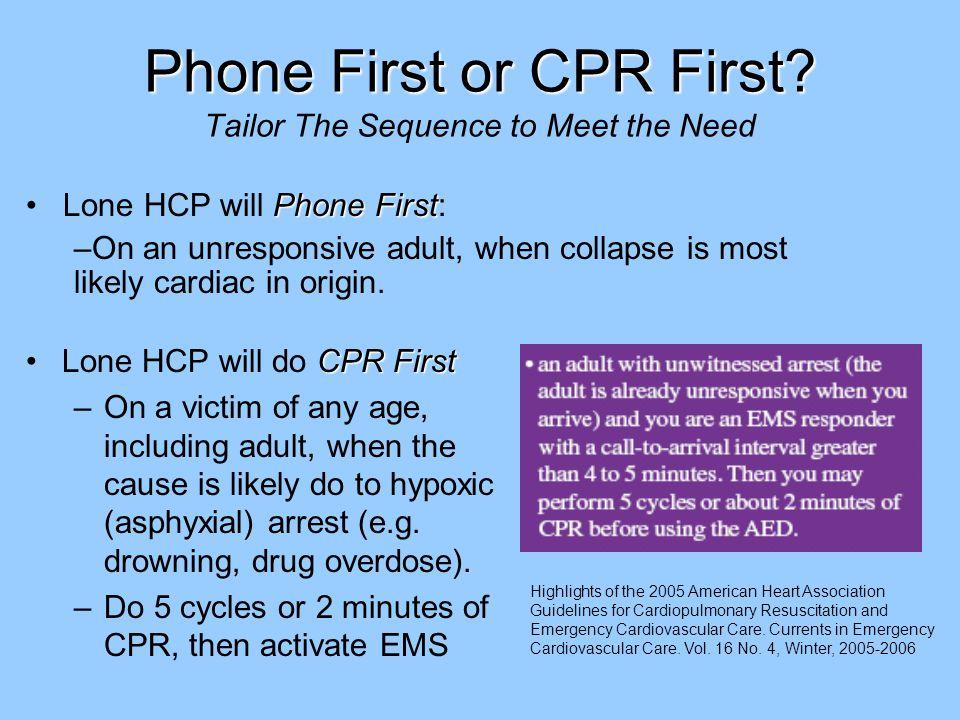 Phone First or CPR First. Phone First or CPR First.