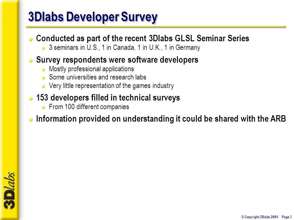 © Copyright 3Dlabs 2004 Page 3 3Dlabs Developer Survey Conducted as part of the recent 3Dlabs GLSL Seminar Series 3 seminars in U.S., 1 in Canada, 1 in U.K., 1 in Germany Survey respondents were software developers Mostly professional applications Some universities and research labs Very little representation of the games industry 153 developers filled in technical surveys From 100 different companies Information provided on understanding it could be shared with the ARB