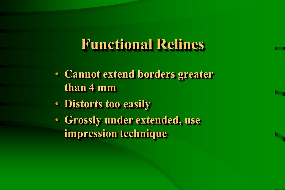 Functional Relines Cannot extend borders greater than 4 mmCannot extend borders greater than 4 mm Distorts too easilyDistorts too easily Grossly under