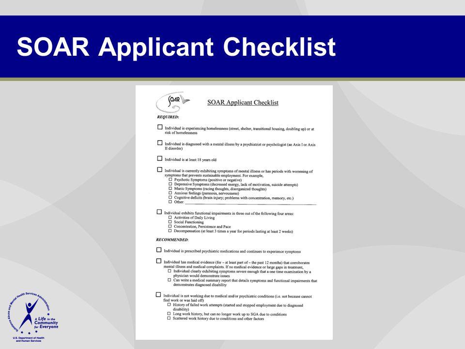 SOAR Applicant Checklist