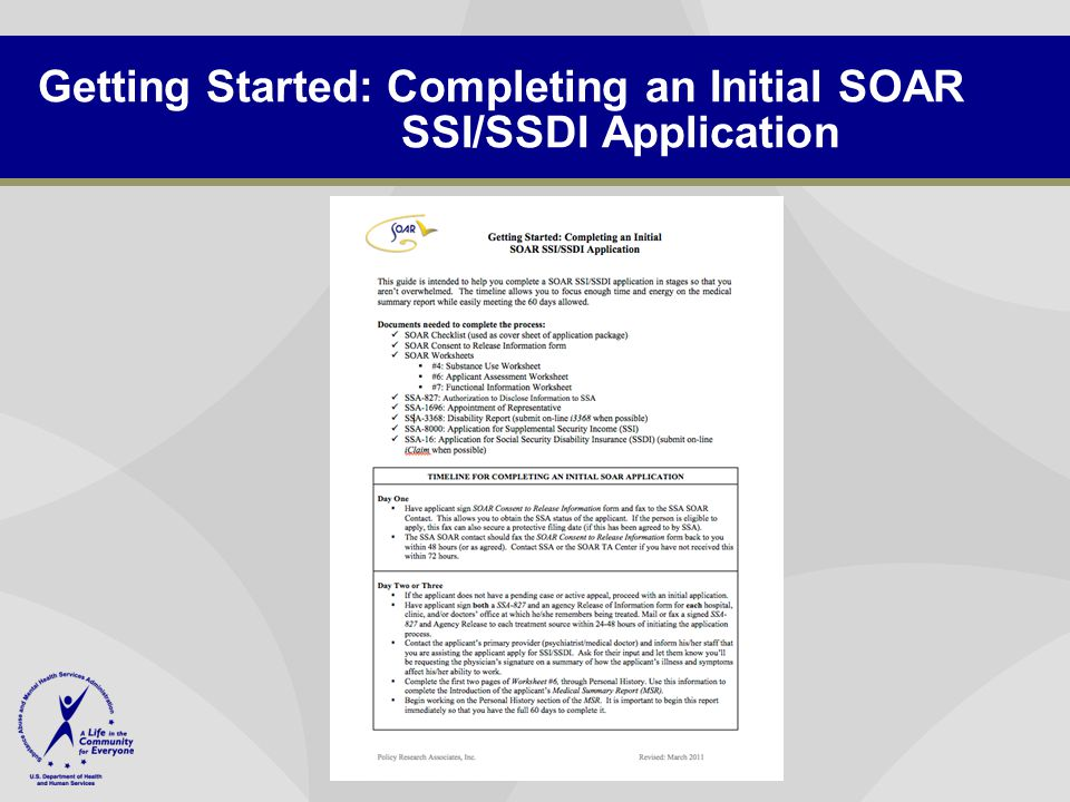Getting Started: Completing an Initial SOAR SSI/SSDI Application