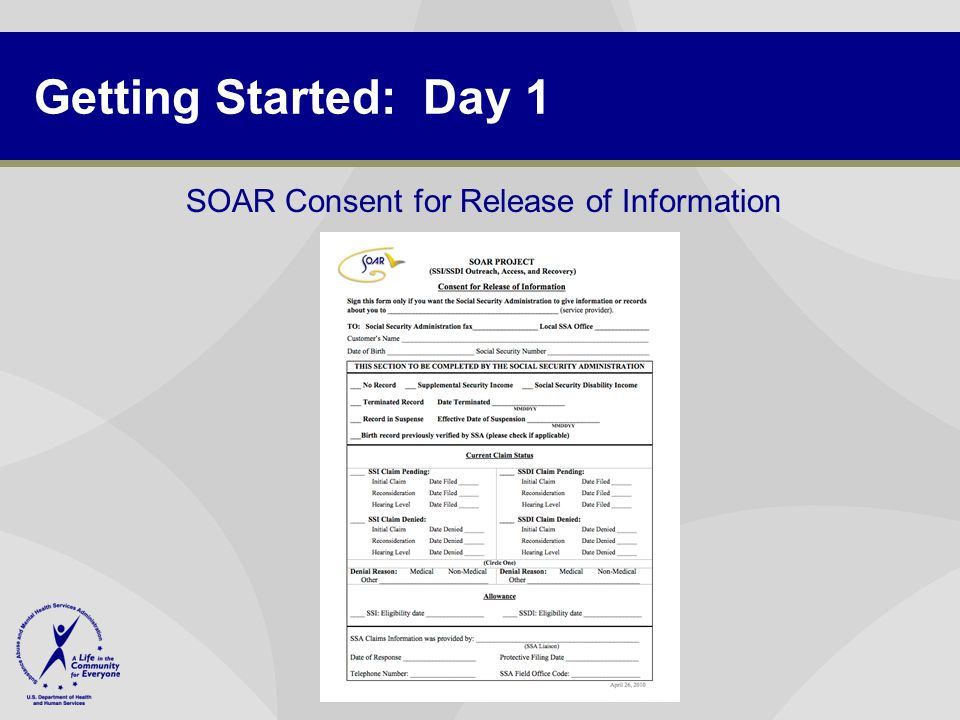Getting Started: Day 1 SOAR Consent for Release of Information
