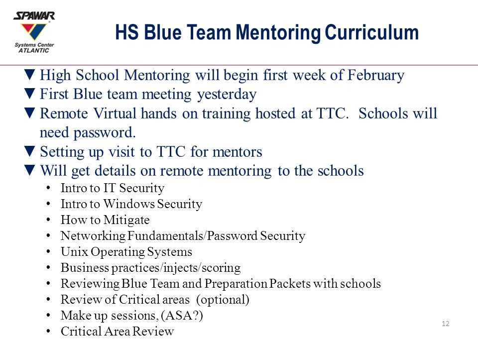 HS Blue Team Mentoring Curriculum 12 ▼High School Mentoring will begin first week of February ▼First Blue team meeting yesterday ▼Remote Virtual hands on training hosted at TTC.