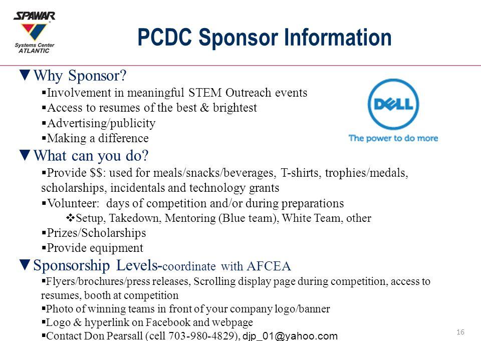 16 PCDC Sponsor Information ▼Why Sponsor.