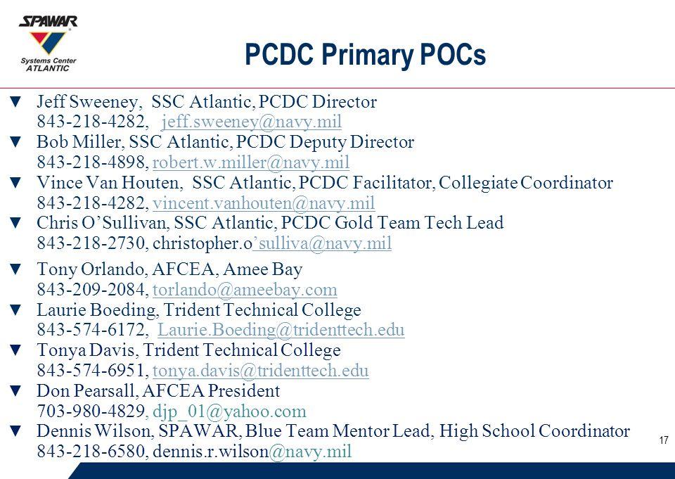 PCDC Primary POCs ▼ Jeff Sweeney, SSC Atlantic, PCDC Director 843-218-4282, jeff.sweeney@navy.miljeff.sweeney@navy.mil ▼ Bob Miller, SSC Atlantic, PCDC Deputy Director 843-218-4898, robert.w.miller@navy.milrobert.w.miller@navy.mil ▼ Vince Van Houten, SSC Atlantic, PCDC Facilitator, Collegiate Coordinator 843-218-4282, vincent.vanhouten@navy.milvincent.vanhouten@navy.mil ▼ Chris O'Sullivan, SSC Atlantic, PCDC Gold Team Tech Lead 843-218-2730, christopher.o'sulliva@navy.mil'sulliva@navy.mil ▼ Tony Orlando, AFCEA, Amee Bay 843-209-2084, torlando@ameebay.comtorlando@ameebay.com ▼ Laurie Boeding, Trident Technical College 843-574-6172, Laurie.Boeding@tridenttech.eduLaurie.Boeding@tridenttech.edu ▼ Tonya Davis, Trident Technical College 843-574-6951, tonya.davis@tridenttech.edutonya.davis@tridenttech.edu ▼ Don Pearsall, AFCEA President 703-980-4829, djp_01@yahoo.com ▼ Dennis Wilson, SPAWAR, Blue Team Mentor Lead, High School Coordinator 843-218-6580, dennis.r.wilson@navy.mil 17