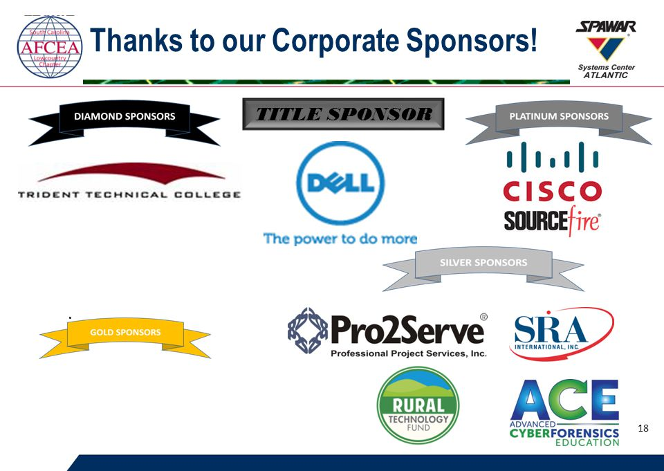 Thanks to our Corporate Sponsors!. TITLE SPONSOR 18